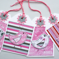 Christmas Gift Tags - Pink Birds - Set of Four - Handcrafted Xmas Tags
