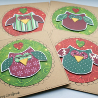 Little Christmas Owls - Set of four Mini Cards