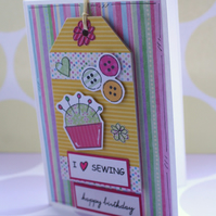 Sewing Birthday Card - Detachable Tag - Decoration - Gift  - Hanging Tag