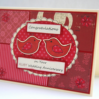 Ruby 40th Wedding Anniversary Handcrafted Card - Red Birds