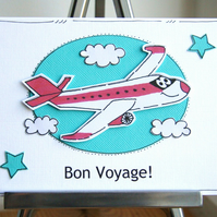 Bon Voyage Card - Personalised - Airplane - Travel - Holiday Card - Handcrafted