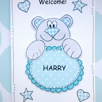 Baby Boy Card - Welcome New Baby - Personalised - Blue Teddy Bear - Handcrafted