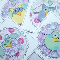 Flower Owl Notecards - Set of four Handcrafted
