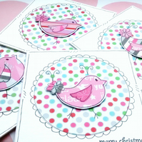 Pink Christmas Flower Birds - Mini Cards - Set of Four Handcrafted