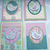 Little Bird Blank Mini Notecards - Set of Four - Lilac and Blue