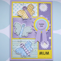 Mother's Day Card - Number One Mum - Butterflies - Rosette - Handcrafted
