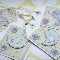 Little Spring Flower Birds - Set of Four Gift Tags