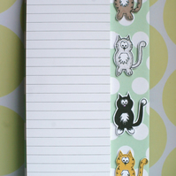 Little Cats - Magnetic Grocery List Holder - Spotty Mint Green