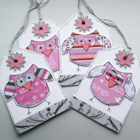 Christmas Gift Tags - Pink Owls - Handcrafted Xmas Tags - Set of Four