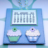 2015 Calendar - Cupcakes - Magnetic Hanging Calendar - Spotty Lilac - Baking