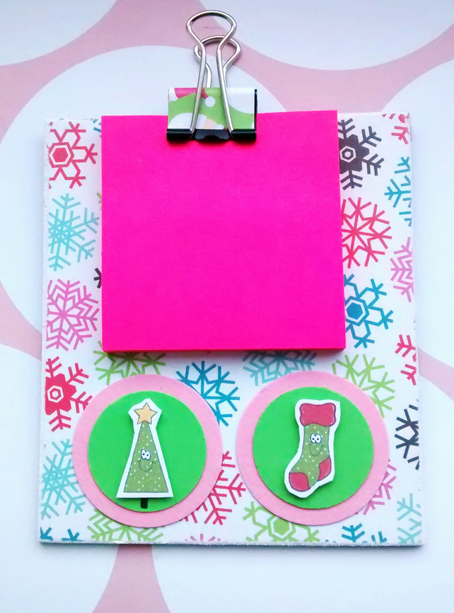 Mini Clipboard -Christmas Theme -  Notes Holder - Magnetic - Fridge Magnet