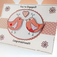 Engagement Congratulations Card - Love Birds - Handcrafted - Peach White