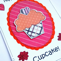 Cupcake Birthday Card  - Handcrafted -  Girls Women Ladies - SALE - Baking