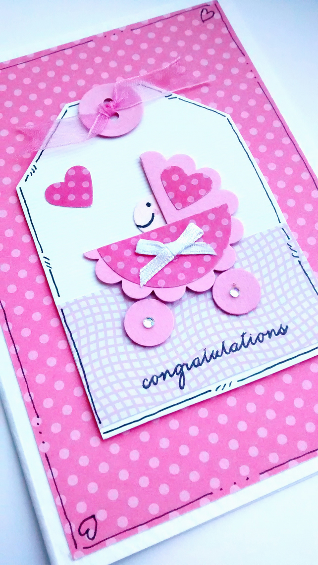 SALE New Baby Girl Card - Baby in Pram - Congratulations - Handcrafted Tag Card