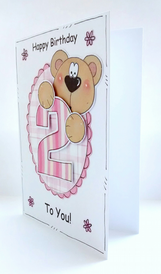 Girl's Birthday Card  - 1st 2nd 3rd - Cute Bear  - Personalised - Handcrafted