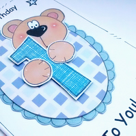 Boy's Birthday Card  - 1st 2nd 3rd - Cute Bear Card - Personalised  - Handmade