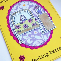Get Well Soon Card, Sick Girl, Feel Better, Friend, Cheer Up, Encouragment, SALE
