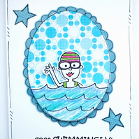 Birthday Card - Swimming Girl -Personalised - Girls Ladies Friends - Handcrafted