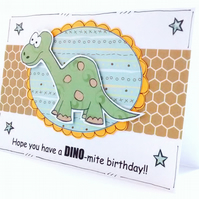 Dinosaur Birthday Card, Children's, Kids, Boys, Brontosaurus, Dino-mite, Pun