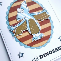 Dinosaur Birthday Card, Age Joke, Friend, Old Age, Cartoon, Handcrafted