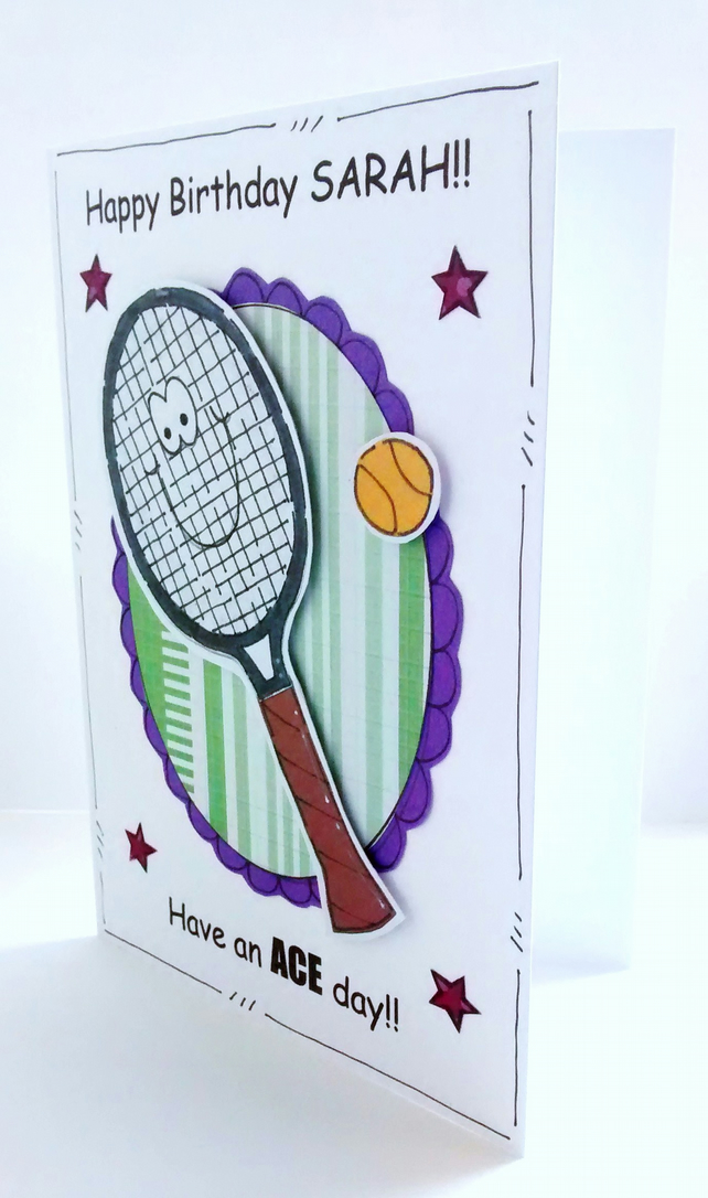 Tennis birthday card racquet personalised folksy tennis birthday card racquet personalised handcrafted sport ace day m4hsunfo