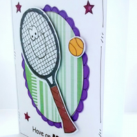 Tennis Birthday Card - Racquet - Personalised - Handcrafted  - Sport - Ace Day