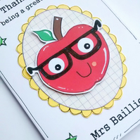 Thank You Teacher Card, Personalised, Apple Specs, Handcrafted, Appreciation
