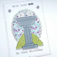 Women's Birthday Card - Bird Bath - Personalised - Handmade - Girl Ladies Femal
