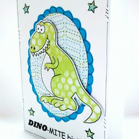 Dinosaur Birthday Card - Personalised - Handcrafted - Dinomite T Rex - Children