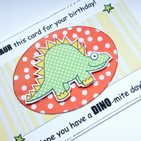 Dinosaur Birthday Card, Stegosaurus, Children's Boy's Kid's, Pun, Handcrafted