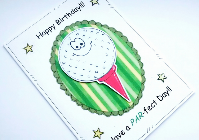 Birthday Card - Golf Ball - Personalised - Pun - Cartoon - Cards for Men - Male