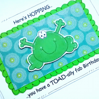 Birthday Card - Frog - Handcrafted - Fun Cartoon Birthday Card  - Toad Pun Card