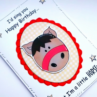 Horse Birthday Card - Horse Pun - Joke Card - Handcrafted - Pony - Riding