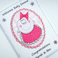 Baby Girl Card - Welcome Congratulations - Personalised - Pink Bib - Handcrafted