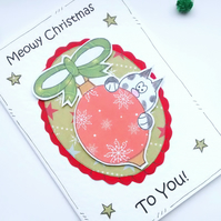 Christmas Card - Cat Bauble - Personalised - Handcrafted Special Xmas