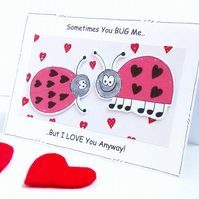 Valentine's Anniversary Love Card - Ladybirds - Ladybugs - Handcrafted