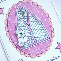 Baptism Day Card - Baby Girl - Personalised - Teddy Church Window - Christening