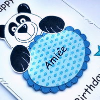 Birthday Card - Panda - Personalised - Handcrafted - Cards for Kids - Name Card