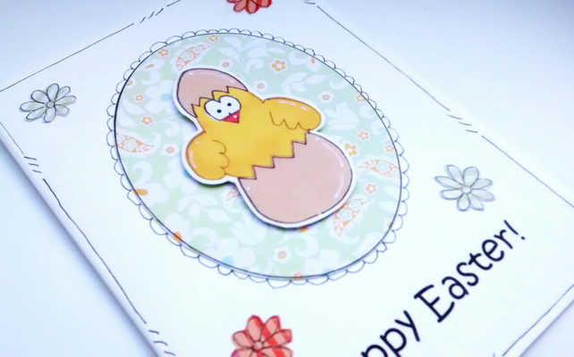 Easter Card -  Egg Hatching Chick - Handcrafted - Happy Easter SALE