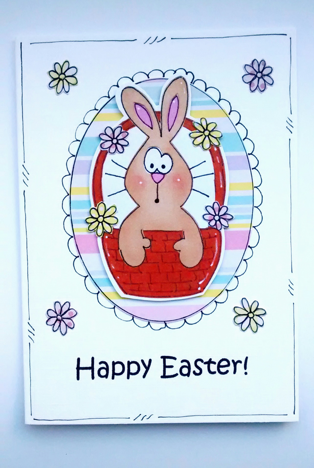 Easter Card - Bunny Basket - Personalised - Handcrafted - Happy Easter Card
