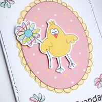 Easter Card - Chick with Flower - Personalised - Handcrafted - Happy Easter