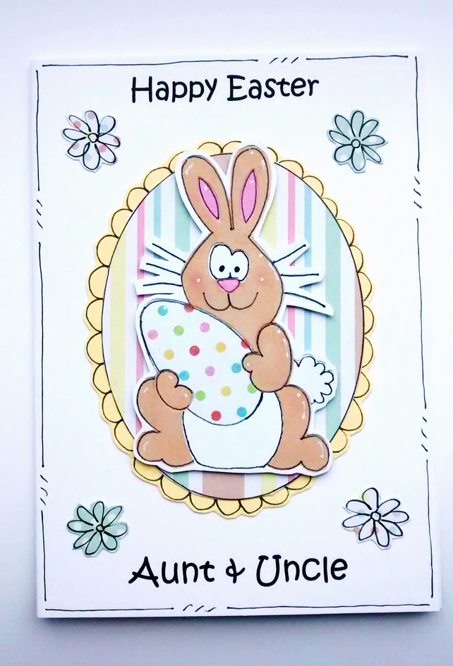 Easter Card - Bunny and Egg - Personalised - Handcrafted - Happy Easter Card