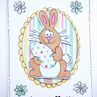 Easter Card, Personalised, Bunny Egg, Children's, Handmade, Cartoon, Cute