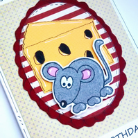 SALE Birthday Card - Mouse - Cheesy Card - Handcrafted  - Fun Birthday