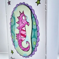 Motivational Card - Seahorse - Encouragement Card - Sealife - Fish - Handcrafted