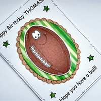 Birthday Card - Rugby Ball - Personalised -  Pun Card - Cards for Men - Cartoon