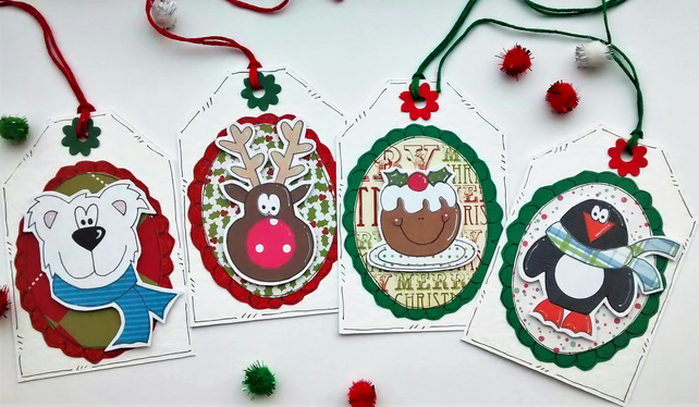Christmas Gift Tags - Cute Characters - Handcrafted Xmas Tags - Children's