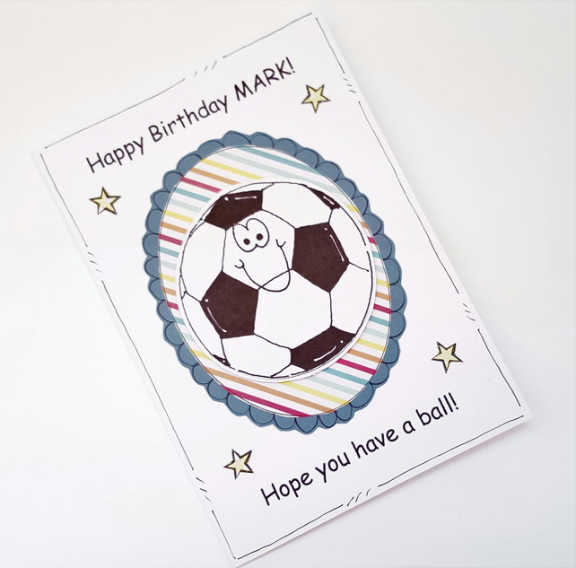 Football Birthday Card - Personalised - Cards for Men Boys Dad Husband - Sport