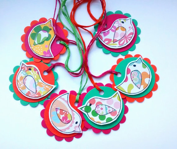 Bird Gift Tags - Tropical  - Handcrafted Round Labels - Attach to Gifts