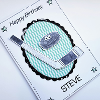 Ice Hockey Birthday Card - Personalised - Handcrafted - Hockey Fan - Sport Card